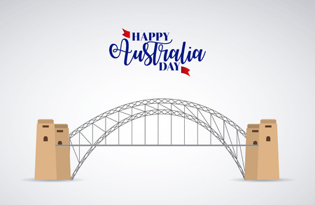 happy australia day place sydney harbor bridge vector illustration