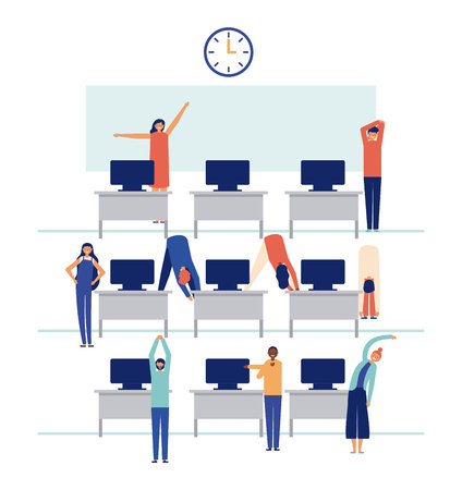 active breaks people in the office stretching the body vector illustration  イラスト・ベクター素材