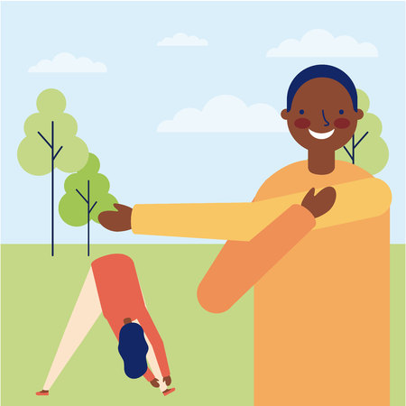 active breaks afroamerican man and girl outdoor stretching the body vector illustration