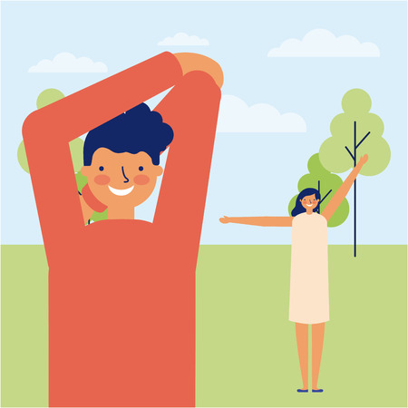 active breaks man and girl in the park stretching the body vector illustration