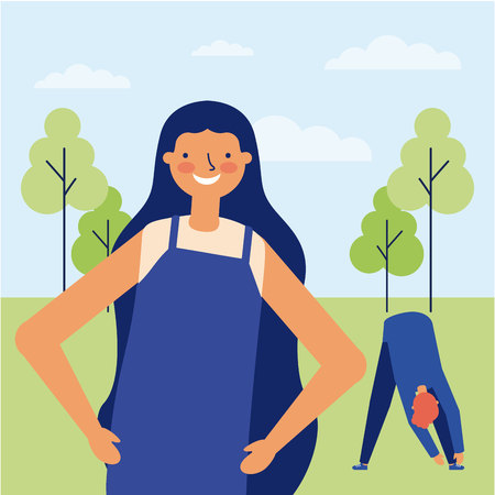 active breaks woman smiling boy touching the tip of her feet in the park vector illustration