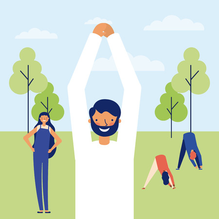 active people break in the park stretching the body vector illustration