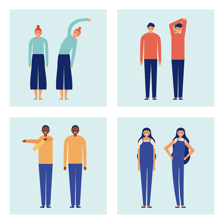 active breaks banners women and men stretching the body vector illustration