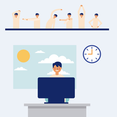 office man working active break stretching the body vector illustration