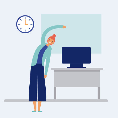 active breaks woman stretching the body office vector illustration