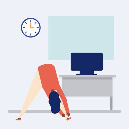 active breaks girl woman touching the tip of her feet in the office vector illustration Иллюстрация