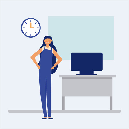 active breaks smiling woman in the office vector illustration