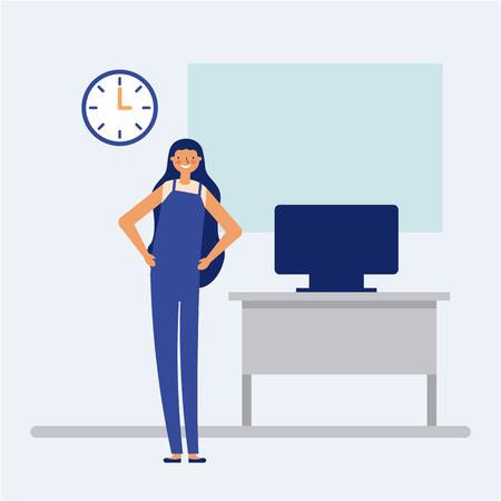 Mujer sonriente de descansos activos en la ilustración de vector de oficina