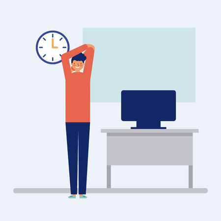 active breaks man stretching his arms vector illustration Illustration