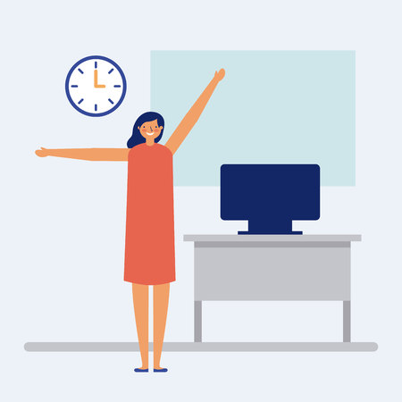 active breaks woman hands up office vector illustration