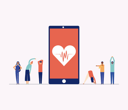 active breaks smartphone heart people stretching the body vector illustration