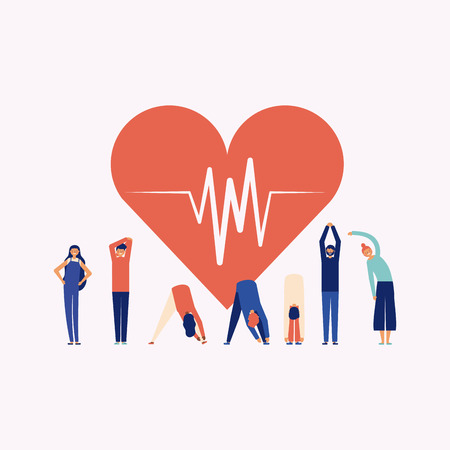 active breaks heart line life people stretching the body vector illustration Çizim
