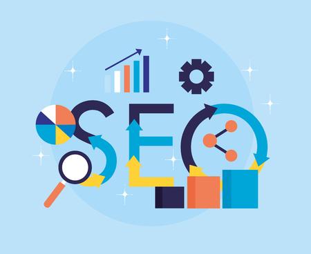 analysis sharing digital search engine optimization vector illustration Иллюстрация