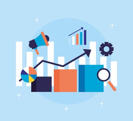 statistics chart speaker search engine optimization vector illustration