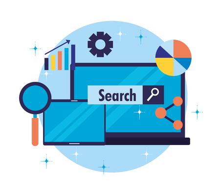 laptop share diagram report search engine optimization vector illustration Иллюстрация