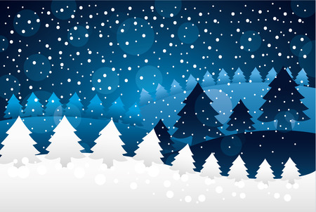 merry christmas alps trees snow background vector illustration