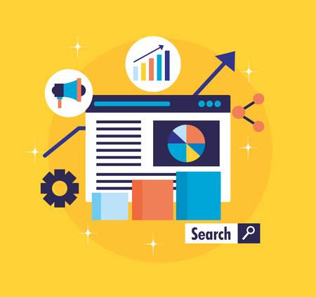 website diagram share statistics search engine optimization vector illustration Иллюстрация