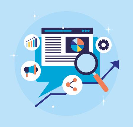 website analysis speech bubble search engine optimization vector illustration Illustration