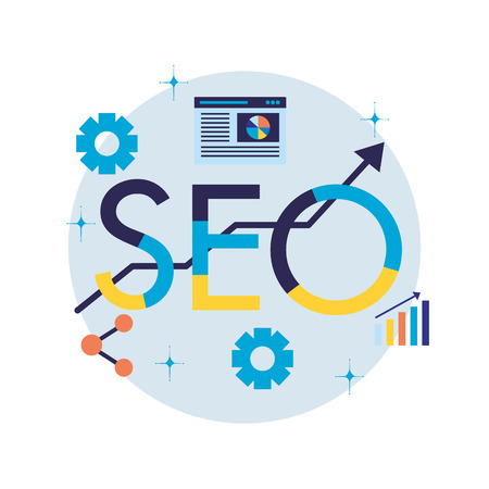 statistics share gears search engine optimization vector illustration