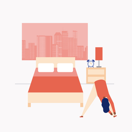 active breaks room woman touching the tip of her feet vector illustration