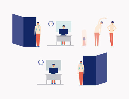active office break man stretching the body working vector illustration
