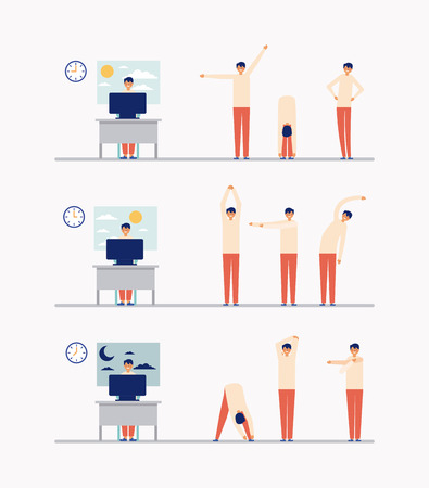 office work and active break man stretching the body vector illustration