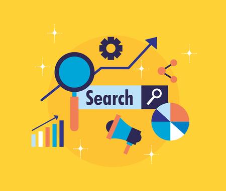 search engine optimization megaphone share chart analysis vector illustration