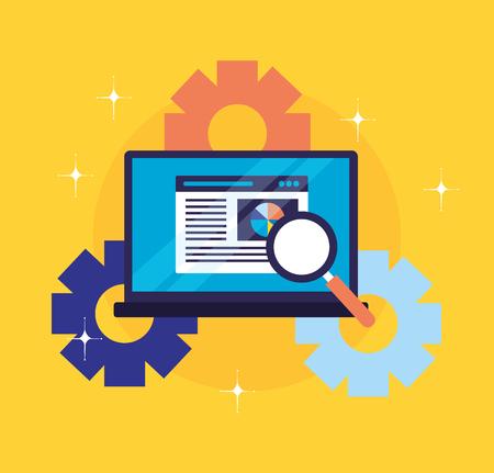laptop document report gears search engine optimization vector illustration Иллюстрация