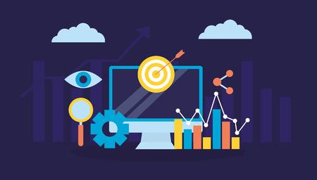 Computer-Ziel-Aktien-Chart-Suchmaschinenoptimierung-Vektor-Illustration