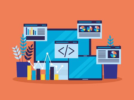 computer mobile website report document search engine optimization vector illustration