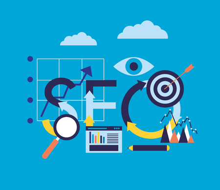 search engine optimization target business chart vector illustration