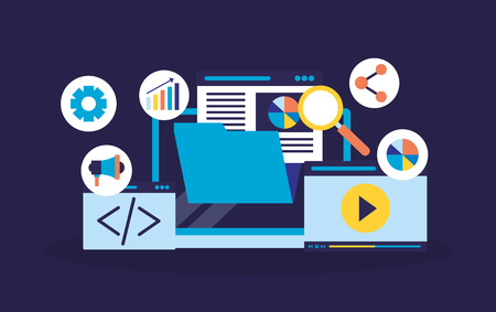 file code website marketing search engine optimization vector illustration