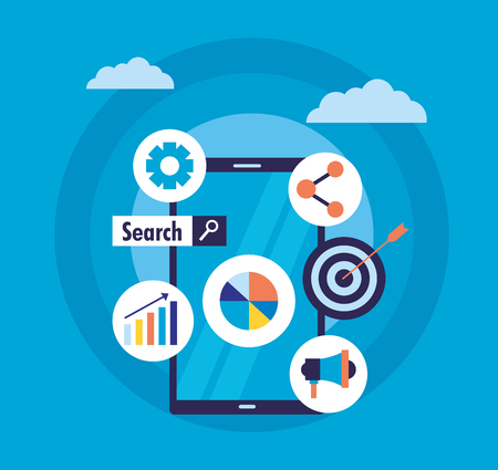 mobile target marketing share chart search engine optimization vector illustration
