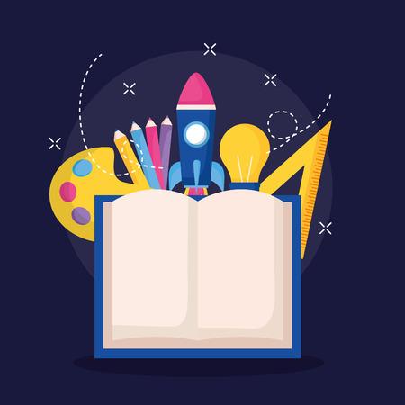 book ruler bulb rocket education school vector illustration
