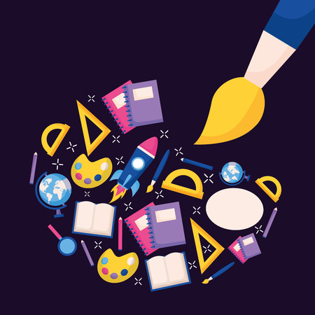 artistic brush and stationery education school vector illustration