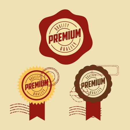 label ribbon premium quality template vector illustration