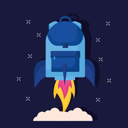 rocket backpack launch education school vector illustration