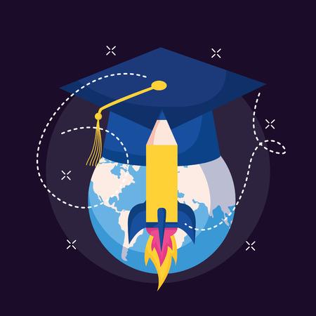 world graduation hat and rocket education school vector illustration