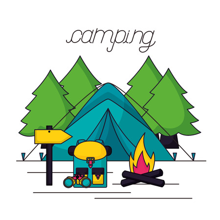camping wood fire carp bag binoculars vector illustration Stock Illustratie