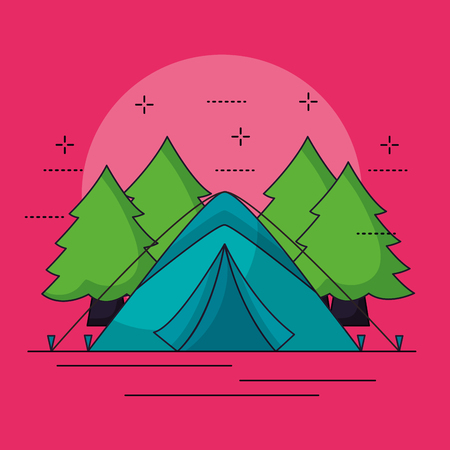 camping carp alps wood symbols background vector illustration Zdjęcie Seryjne - 127260206