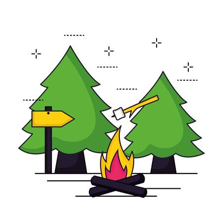 camping marshmallow wood fire symbols vector illustration