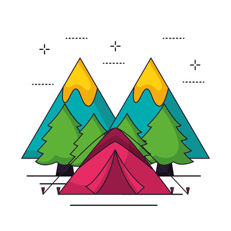 camping pink carp wood trees vector illustration