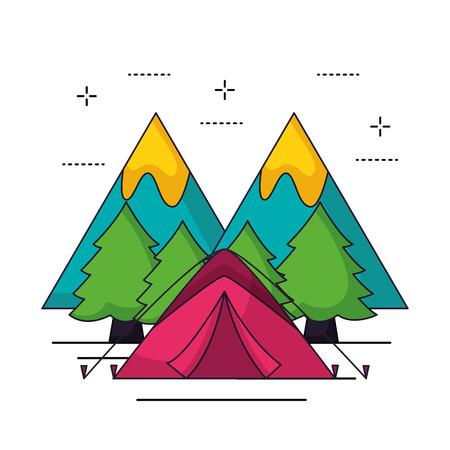 camping pink carp wood trees vector illustration