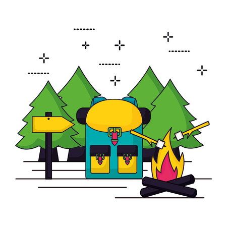 camping trees bag wood fire marshmallow vector illustration Illustration