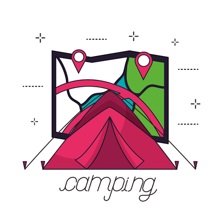 camping carp map locations smybols background vector illustration