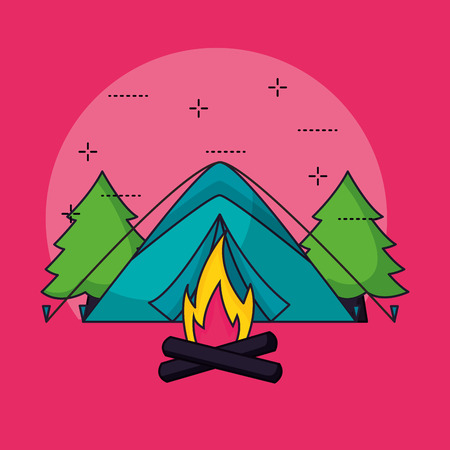camping wood fire trees symbols vector illustration