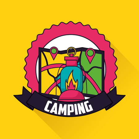 camping sticker ribbon map locations lamp fire vector illustration