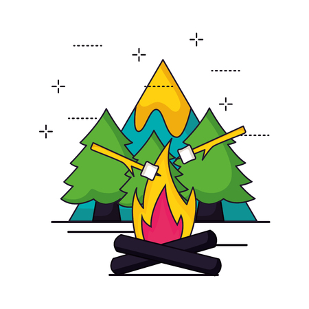 camping wood fire marshmallows alps vector illustration