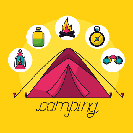 camping carp stickers bottle binoculars compass wood fire vector illustration Illustration