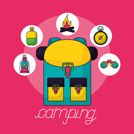 camping bag stickers wood fire bottle water binoculars vector illustration Banque d'images - 127260223